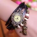 Blueskyseller Women Vintage Braid Wrap Quartz Leather Wrist Watch (Black)