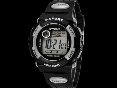 "Susenstore Waterproof Cool Mens Boy""s Digital LED Quartz Alarm Date Sports Wrist Watch (Grey)"