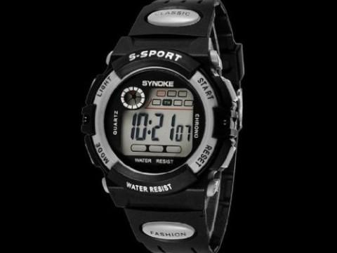 "Susenstore Waterproof Cool Mens Boy""s Digital LED Quartz Alarm Date Sports Wrist Watch (Grey)"